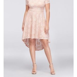City Triangles Off Shoulder Lace High-Low Dress